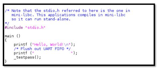 Figure 23: Hello -World Application Code.