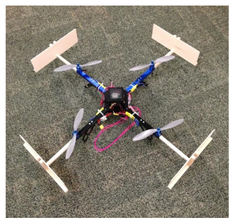 The Constructed Quadcopter with Added Pieces to Protect the  Propellers during Test Flights.