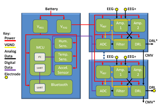 Block Diagram of the Main Circuit Board (Left) and Modularized Eeg Channel Amplification and Filtering Circuit Boards (Right).  Starred* Outputs Are Unused.