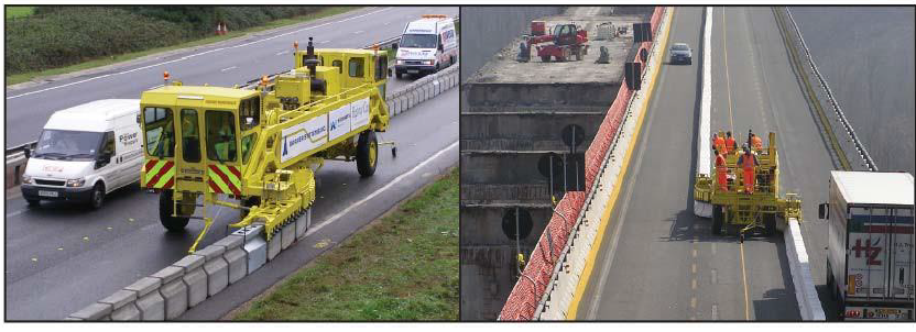 Figure 5 Moveable barrier is used to expand the work zone and/or provide more lanes for peak traffic.