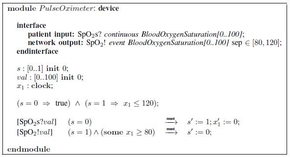 Fig. 5: Pulse-oximeter device requirements specification.