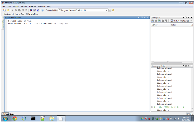 Figure 8: Microcontroller test screen shot; MATLAB output