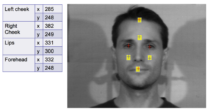 Figure 12 ‐ Sample results obtained from the feature extraction algorithm.