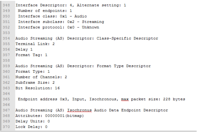 Figure 4.2: Example USB Enumeration Data