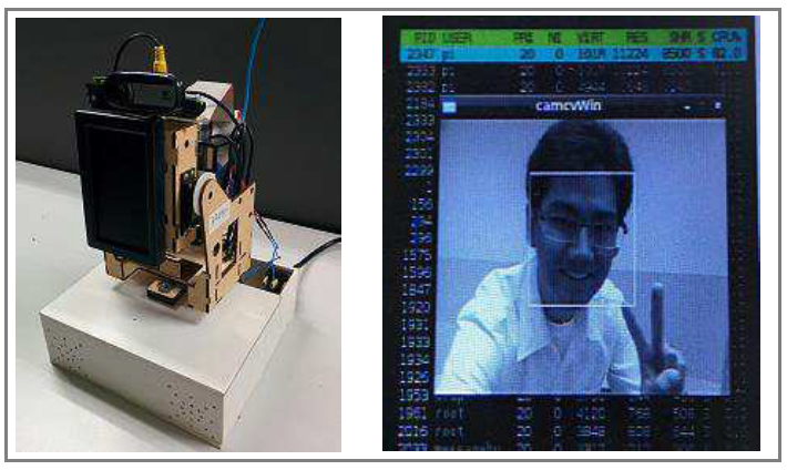 Fig. 2 The telepresence robot (left) prototype of the robot hardware design (right) the robot's screen when testing face detection module.