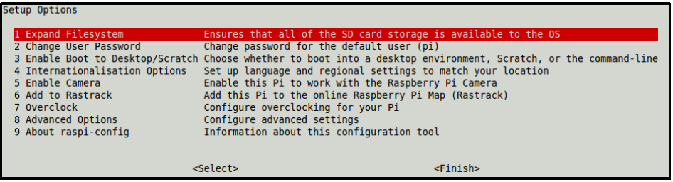 Figure 2. sudo raspi-config