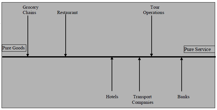 Figure 7.7: Service-Goods Continuum for Various Service Branches