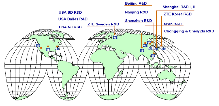 Figure 19: Location of ZTE's R&D centers worldwide (Ji, 2005, p 9)