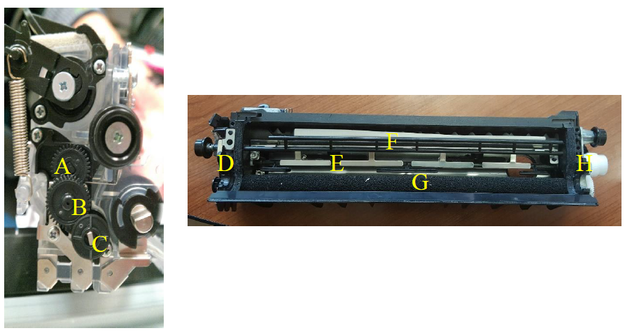 Figure 1 Setup of Developer Unit with (A) Agitator Driving Gear (B) Compound Idler Gear (C) Agitator Driving Gear Train Input Gear (D) Gear Face Plate and Agitator Shaft Bearing (E) Agitator Shaft (F) Auxiliary Paddle (G) Toner Roller (H) Input Driving Gear.