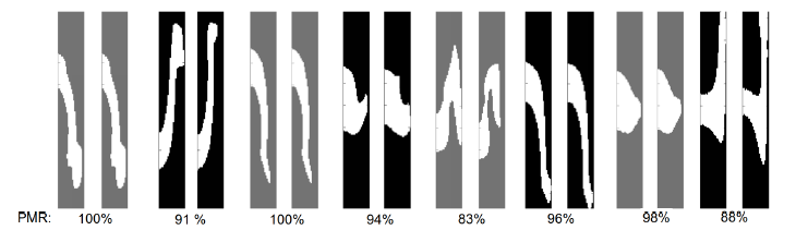 Figure 4: Eight example predictions (np = 4). The left side of each pair is the target ow shape and the right side is the ow generated from the predicted pillar sequences.