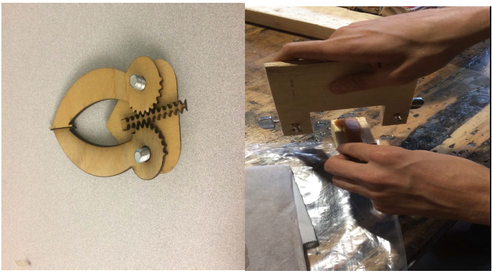 Figure 30. (Left) Claw mechanism testing prototype made from a laser cutter and (Right) wire cutting prototype to test cutting of the caramel.