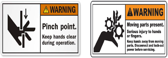 Figure 33. Warning labels associated with the possible safety hazards of the machine