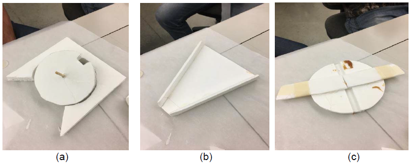 Figure 6. Basic material concept testing of (a) slotted wheel (b) extruding and moving the caramel (c) cutting the caramel with a wire.