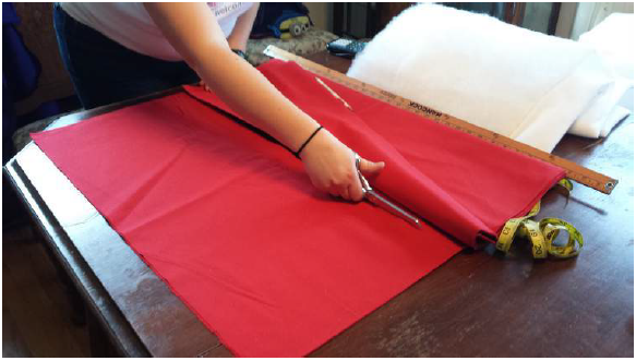 Figure 13.1. Cutting the fabric to size.