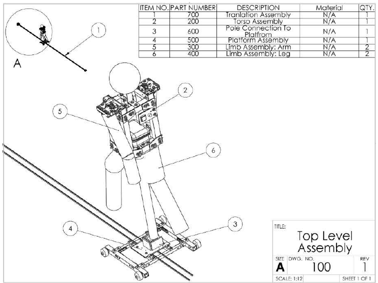 Figure 7.1. Top Level Assembly Drawing of the Pedestrian Target (Original design, prior to changing the direction of the platform and moving the control panel).