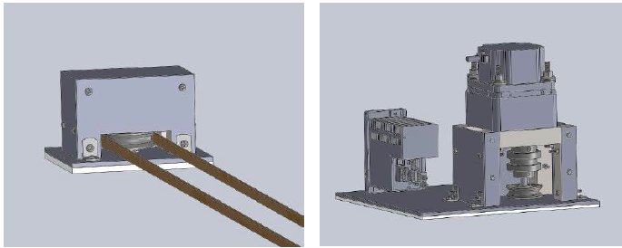 Figure 7.20 Isometric Views of the Lateral Translation Assembly Showing the Slave Side (Left) and Driver Side (Right).