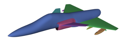 Figure 8: The aircraft modelled in dwfSumo with a store mounted in pylon 2. Fine details are removed, as well as the vertical stabiliser.