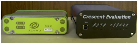Figure 6.1. The GPS receivers. Javad JNSGyro-2 to the left and Hemisphere GPS Crescent Vector to the right
