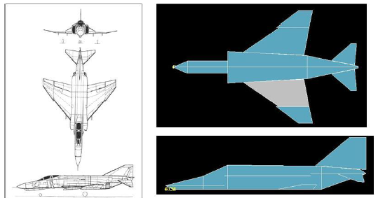 Figure 4-7. F-4e drawings (to the left), F-4e in ADAPDT (to the right)
