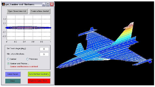Figure 2-12 Interface to select and add a profile to the geometry, here a Naca 65A004 is selected (left window). The Naca profile has been added, wing now has a thickness and a camber defined (right figure).
