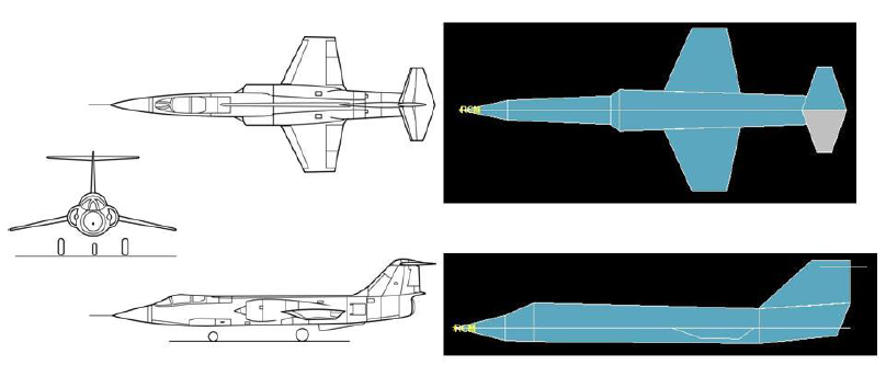 Figure 4-11. F-104G drawings (left) and F-104G in ADAPDT (right).