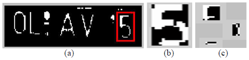 Figure 5. (a) Localized number plate with distorted character within the box, (b) Mended character, (c) Segmentation result of the distorted character (the three sections constitute to form the distorted character '5')