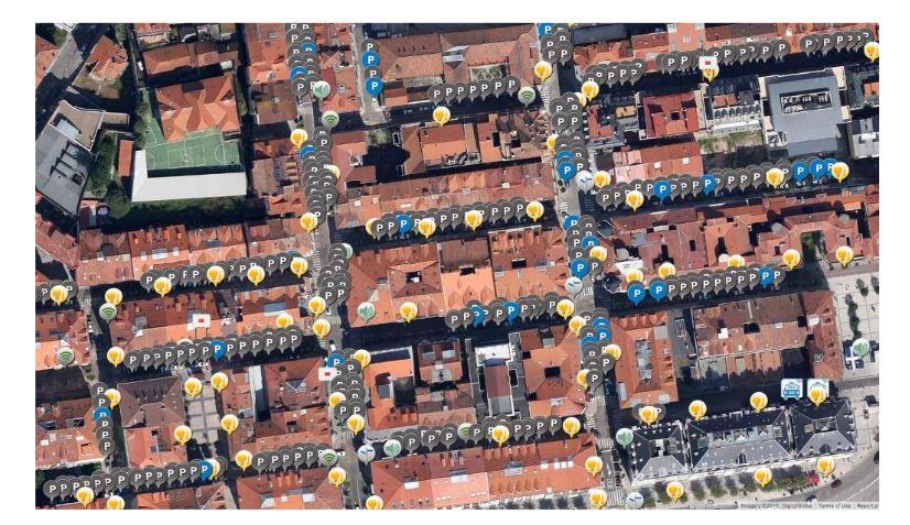 Figure 3. Detailed view of outdoor parking sensors deployment