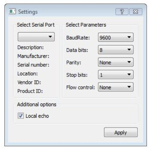 Figure 15: Serial port configuration window