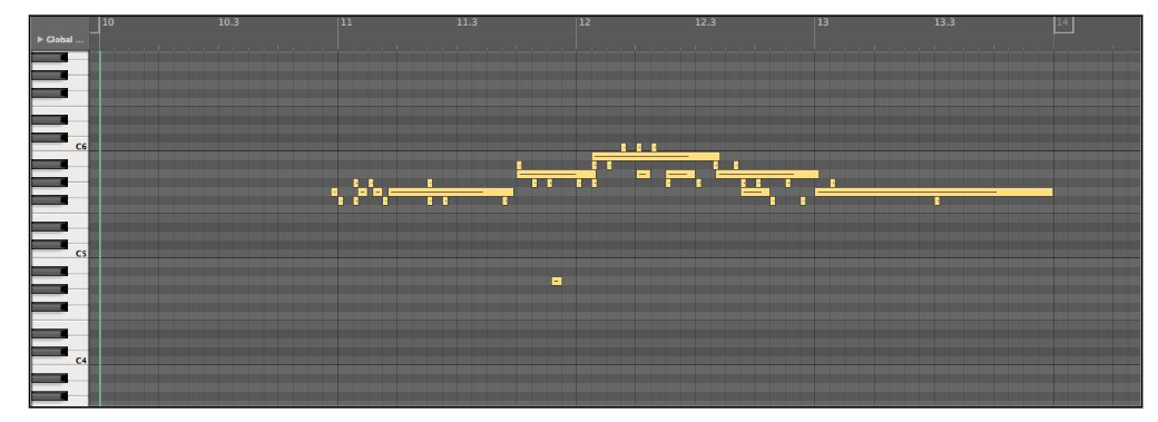 Figure 18: Actual experimental results of the third test trial. The longer sustained notes are correct, but the small MIDI notes are incorrect pitches being identified