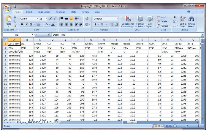 Figure 8. EFIS output example of the CSV file in Excel