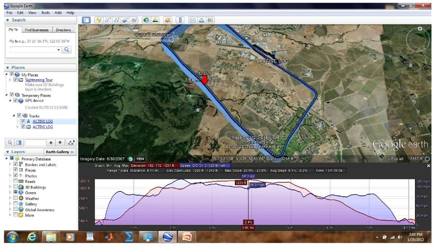 Figure 10. Google Earth presentation of RV7 flight test while flying one traffic pattern