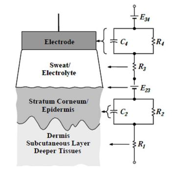 Figure 9. Skin–electrode contact electric model