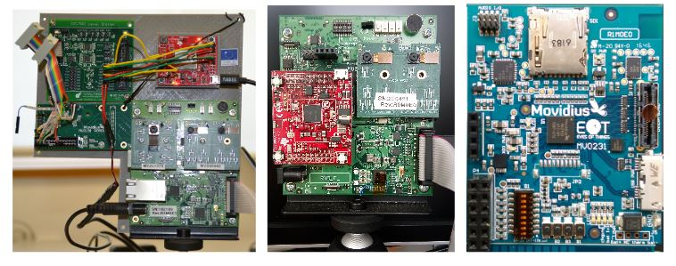 Figure 1. Development of Ears of Things (EoT) boards. Sizes, from left to right (in mm): 200 × 180, 100 × 100, 57 × 46