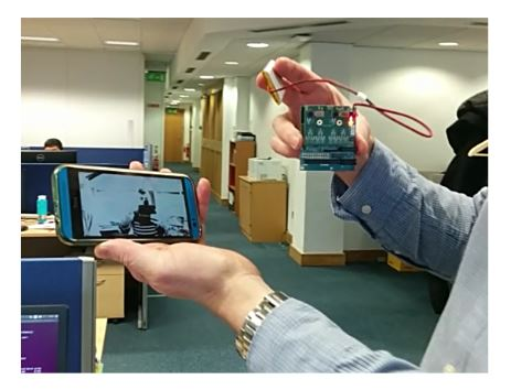Figure 12. Battery-operated EoT streaming video to an Android smartphone