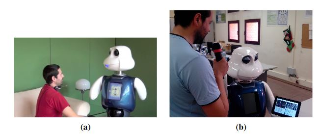 Figure 8. Human–robot dialog where the robot is showing information on a tablet about the main entities extracted from the conversation